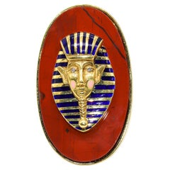 Cellino Jasper and Enamel Pharaoh Ring with Diamonds 18 Karat Gold