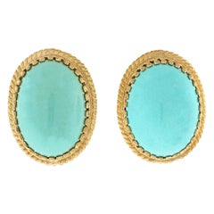 Cellino Persian Turquoise-Set Gold Earrings
