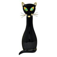 Cellino Retro Black Enamel Emerald 18 Karat Gold Cat Brooch