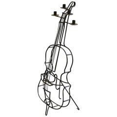 Cello-Shaped Candelabra, in Wrought Iron, circa 1960
