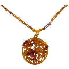 Celluloid Crafted Necklace Circa 1900 w/ 14K Gold