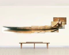 "'Man in Canoe"" 3D Photo Collage on canvas, 8 mounted Images, 2001"