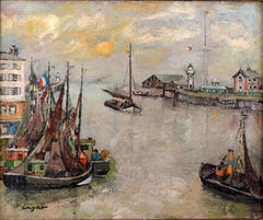 """Le Port d'Honfleur"", Oil on Canvas by 20th Century Spanish Artist, Celso Lagar"