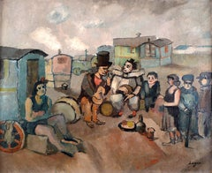 """Les Saltimbanques"", 20th Century Oil on Canvas by Spanish Artist, Celso Lagar"