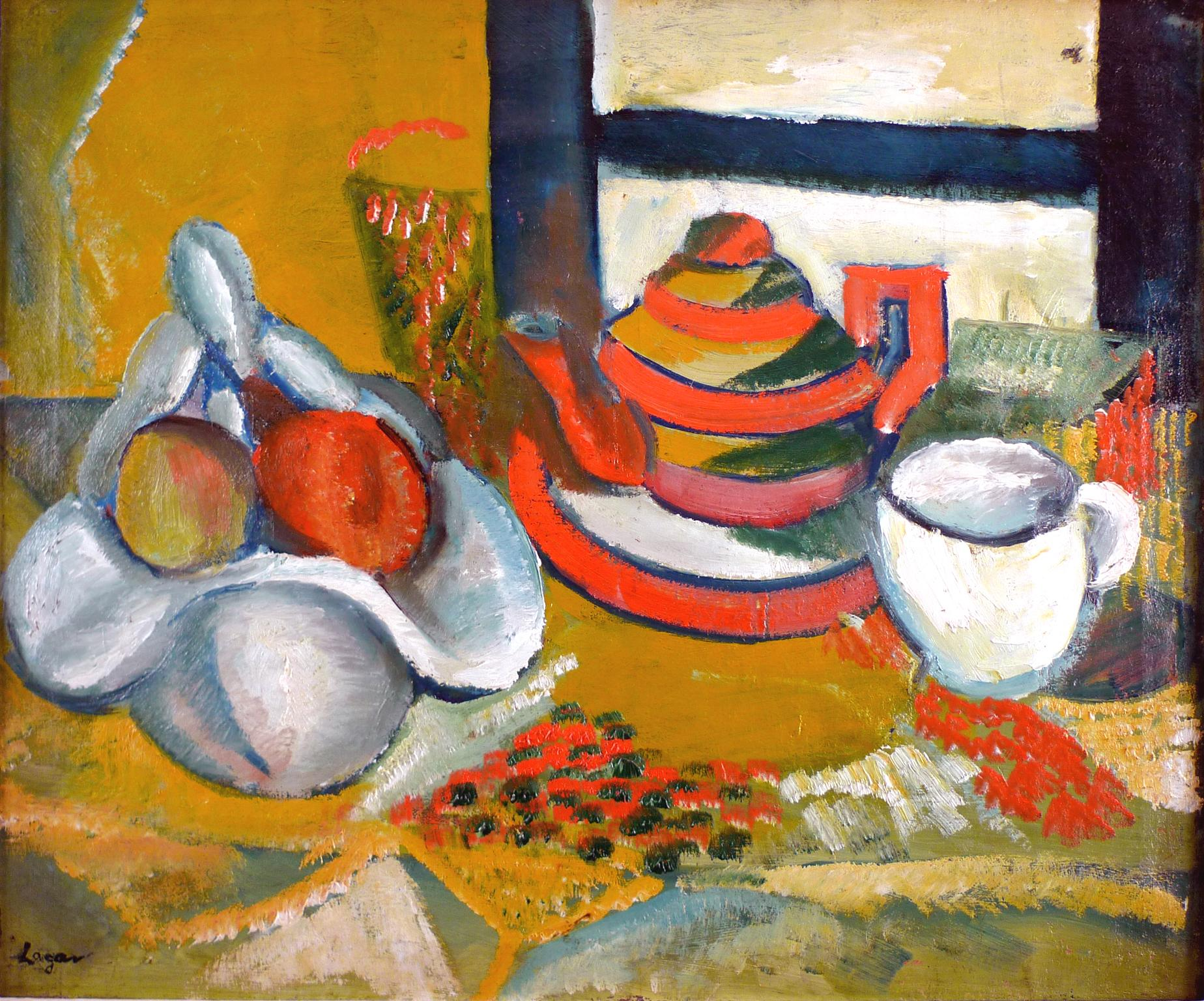"""""""Nature Morte"""" Fruit Bowl, Tea Pot and Cup, Oil on Canvas by Spanish Celso Lagar"""