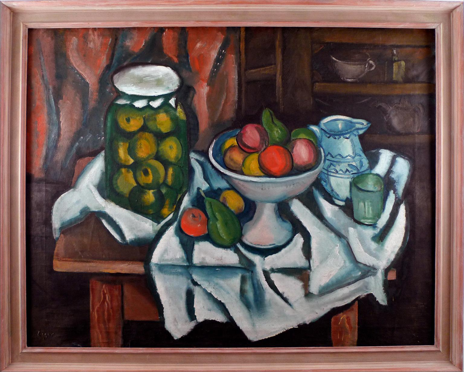 """""""Still Life with Fruits"""", Large, Early 20th Century Oil on Canvas by Celso Lagar"""