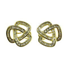 Celtic Knot Triangle Diamond in 18 Karat Yellow Gold Earrings