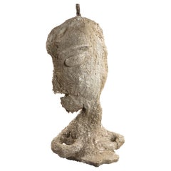 Cement Gray Sculptural Figure Face, 21st Century by Mattia Biagi