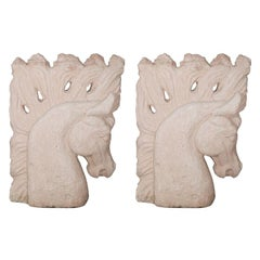 Cement Horse Heads Sculptures