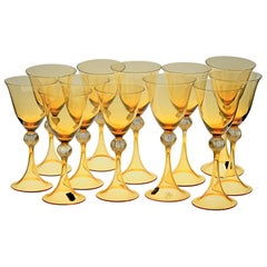 Cenedese 12 Stemmed Glasses 6 Wine 6 Water Murano Amber Gold Leaf, Signed Label