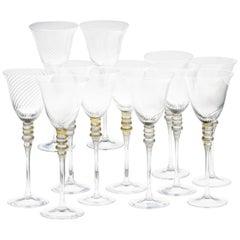 Cenedese 12 Tall Glass, Murano Vetro Neutro Rigadin Gold Leaf, Signed Label 80s