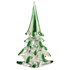 Cenedese 1980 Italian Modern Forest Green Spike Murano Glass Tree Sculpture