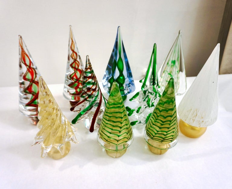 Cenedese 1980s Italian Modern 24K Gold Dust Twisted Murano Glass Tree Sculpture For Sale 2