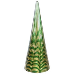 Cenedese 1980s Italian Modern Gold Green Swirl Murano Glass Tree Sculpture