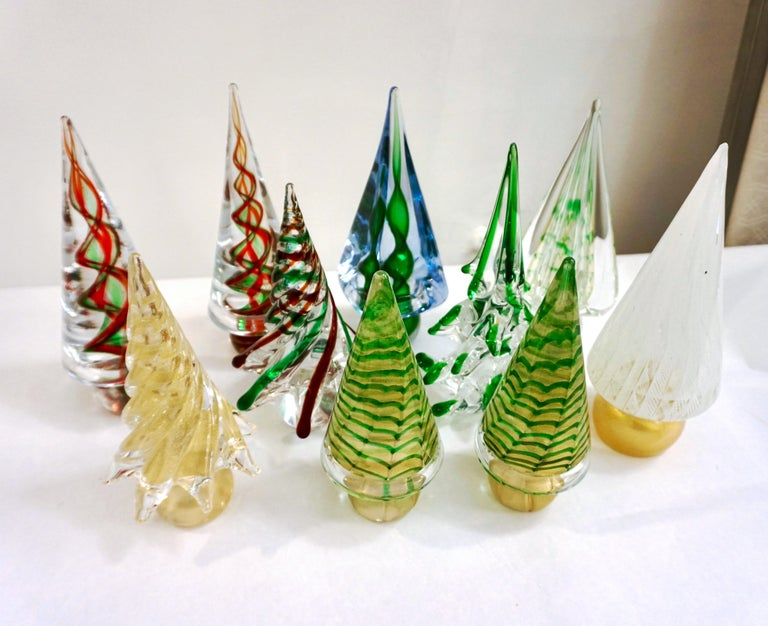 Cenedese 1980 Italian Modern Green Red Clear Twisted Murano Glass Tree Sculpture For Sale 3
