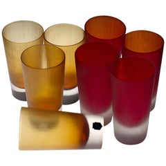 Cenedese, 8 Tumblers Red or Amber, Incisi Velati Heavy Sommerso Murano Glass