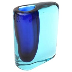 Cenedese Cobalt and Turquoise Blue Murano Glass Vase