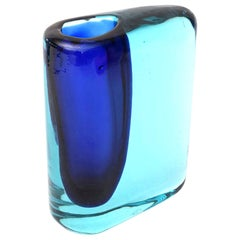 Cenedese Cobalt and Turquoise Blue Murano Sommerso Glass Vase
