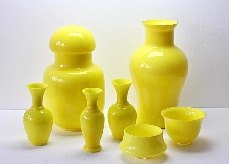 Cenedese Ensemble von hellen gelben Vintage italienische Murano Art Glasvasen, 1960er Jahre 2
