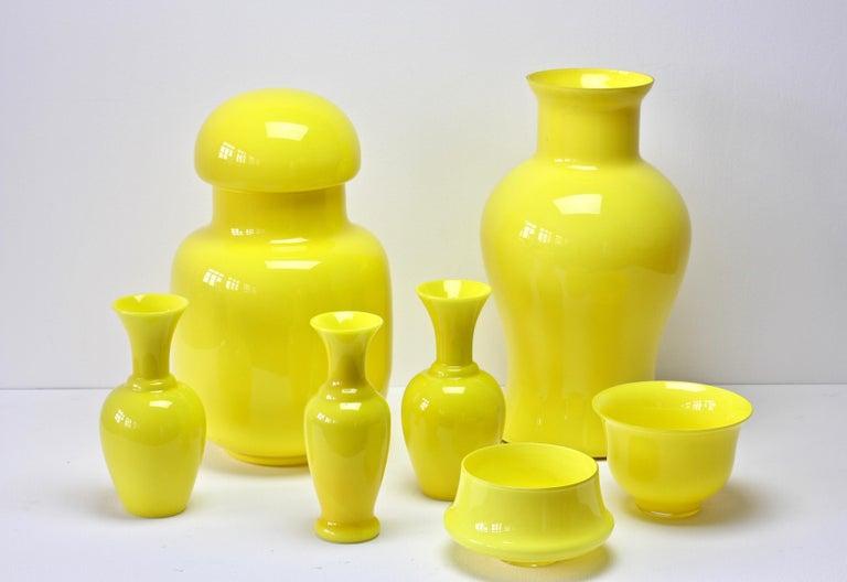 Cenedese Ensemble von hellen gelben Vintage italienische Murano Art Glasvasen, 1960er Jahre 3