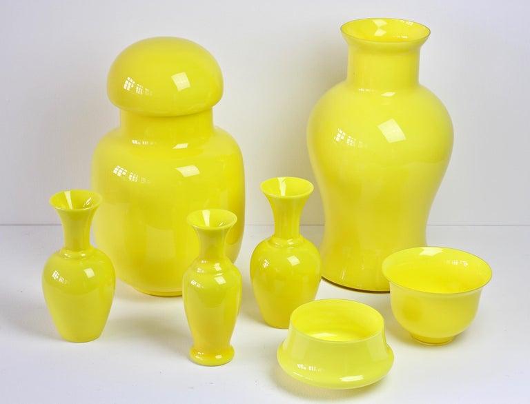 Cenedese Ensemble von hellen gelben Vintage italienische Murano Art Glasvasen, 1960er Jahre 4