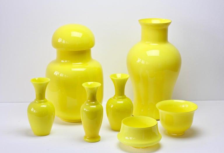 Cenedese Ensemble von hellen gelben Vintage italienische Murano Art Glasvasen, 1960er Jahre 6