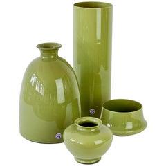 Cenedese Ensemble of Moss Green Vintage Midcentury Italian Murano Glass Vases