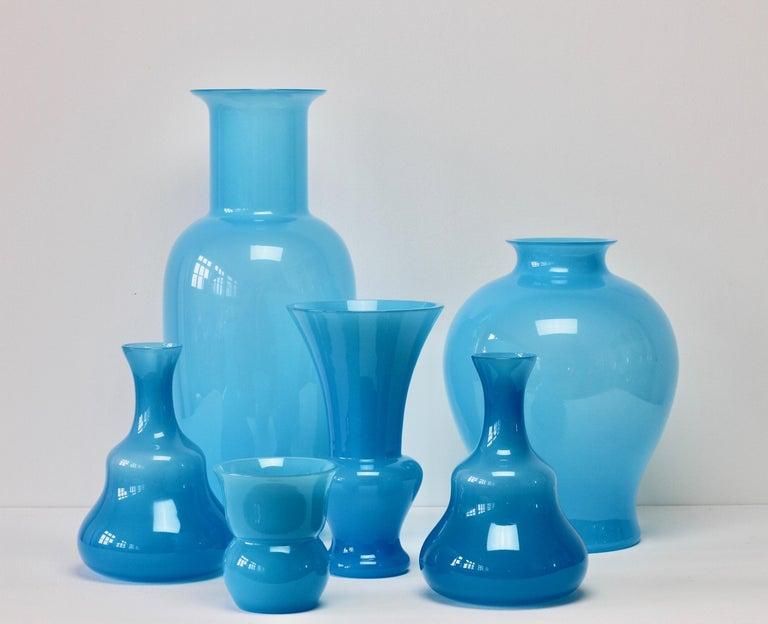 Mid-Century Modern Cenedese Ensemble of Light Blue Vintage Italian Murano Art Glass Vases & Vessels For Sale
