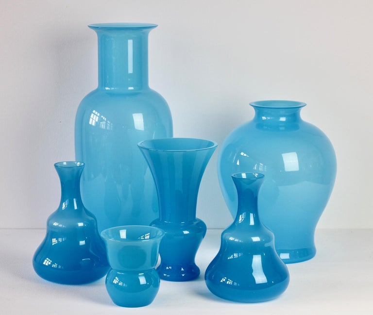 Cenedese Ensemble of Light Blue Vintage Italian Murano Art Glass Vases & Vessels In Excellent Condition For Sale In Landau an der Isar, Bayern