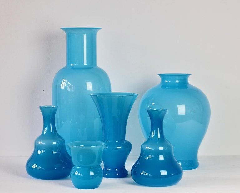 20th Century Cenedese Ensemble of Light Blue Vintage Italian Murano Art Glass Vases & Vessels For Sale