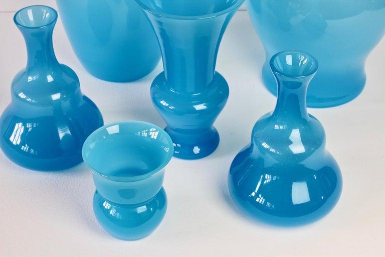 Blown Glass Cenedese Ensemble of Light Blue Vintage Italian Murano Art Glass Vases & Vessels For Sale