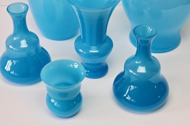 Cenedese Ensemble of Light Blue Vintage Italian Murano Art Glass Vases & Vessels For Sale 1