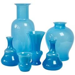 Cenedese Ensemble of Light Blue Vintage Italian Murano Art Glass Vases & Vessels