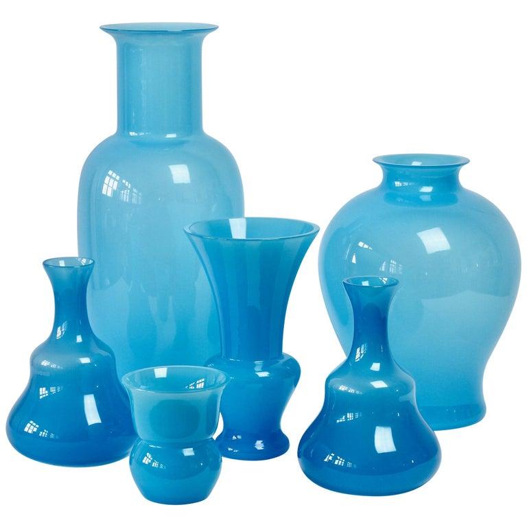 Cenedese Ensemble of Light Blue Vintage Italian Murano Art Glass Vases & Vessels For Sale