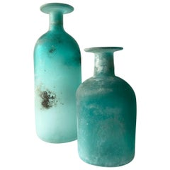 Cenedese Italian Modern Aqua Scavo Glass Pair of Vases