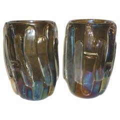 Cenedese Italian Modern Pair of Iridescent Black Smoked Murano Glass Vases