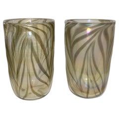 Cenedese Italian Pair of Iridescent Zebra Smoked Gold Murano Glass Modern Vases