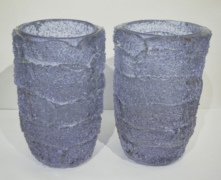 Cenedese Italian Pair of Pink Amethyst Aqua Blue Alexandrite Murano Glass Vases For Sale 10