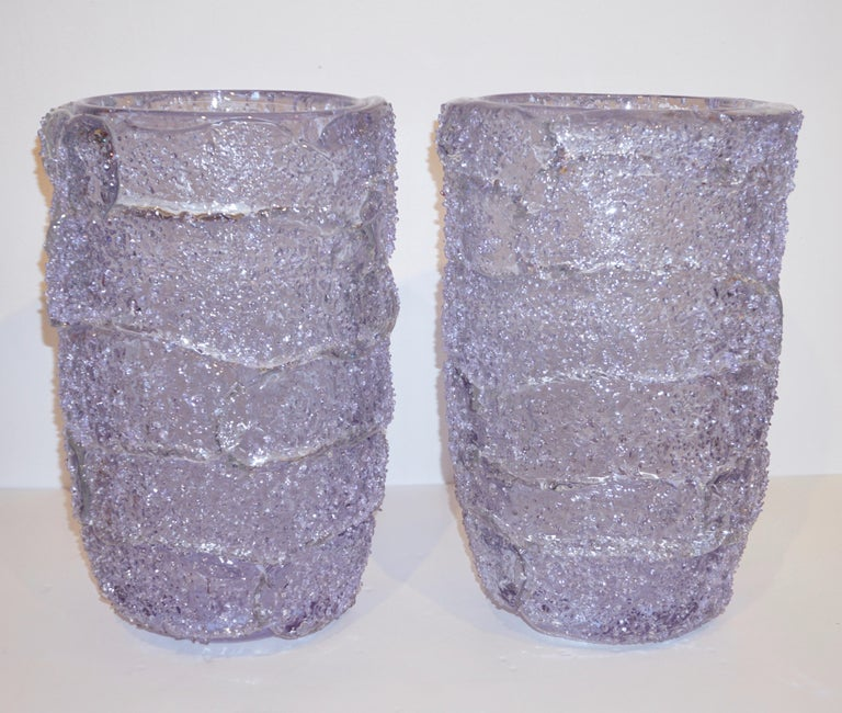 Cenedese Italian Pair of Pink Amethyst Aqua Blue Alexandrite Murano Glass Vases For Sale 11