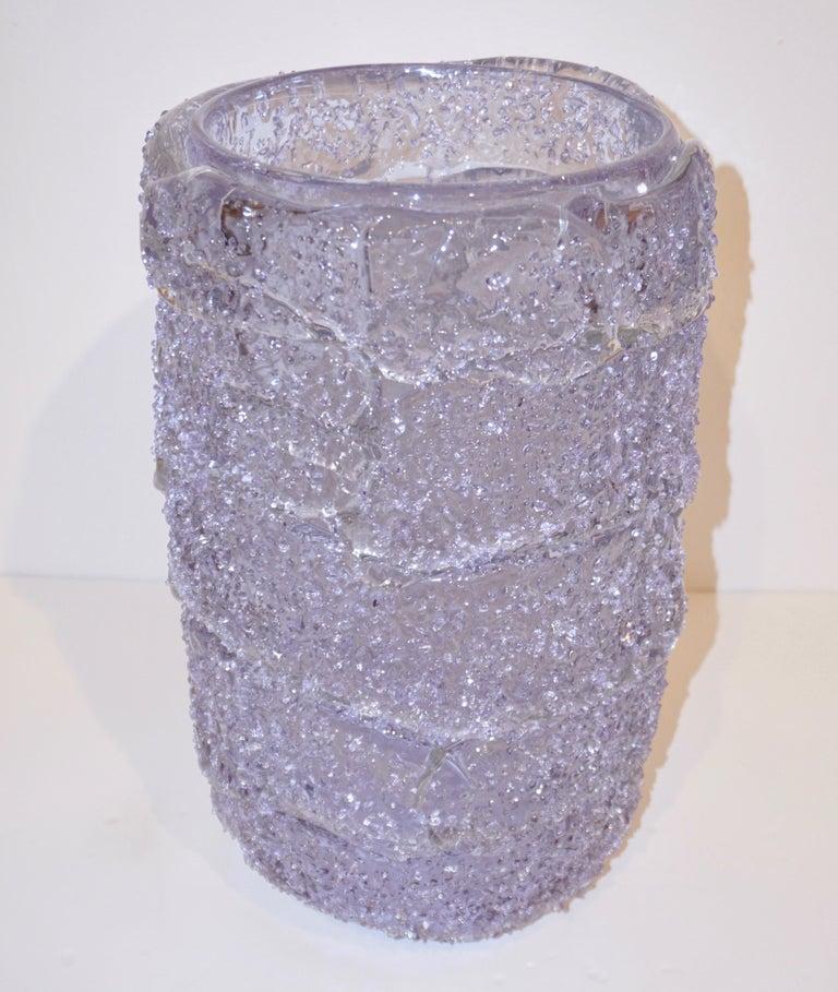 Minimalist Cenedese Italian Pair of Pink Amethyst Aqua Blue Alexandrite Murano Glass Vases For Sale