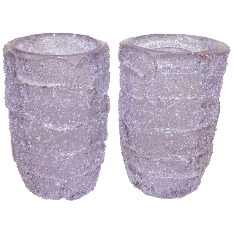 Cenedese Italian Pair of Pink Amethyst Aqua Blue Alexandrite Murano Glass Vases For Sale
