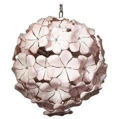 Cenedese Mid-Century Modern Rose Murano Glass Chandelier Italian Style, 1980s