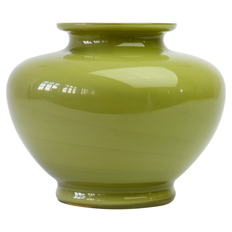Cenedese Moss Green Vintage Midcentury Italian Murano Glass Vase or Vessel