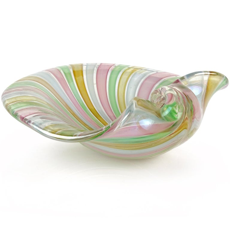 20th Century Cenedese Murano A Canne Ribbons Iridescent Italian Art Glass Seashell Dish Bowl For Sale