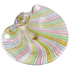 Cenedese Murano A Canne Ribbons Iridescent Italian Art Glass Seashell Dish Bowl