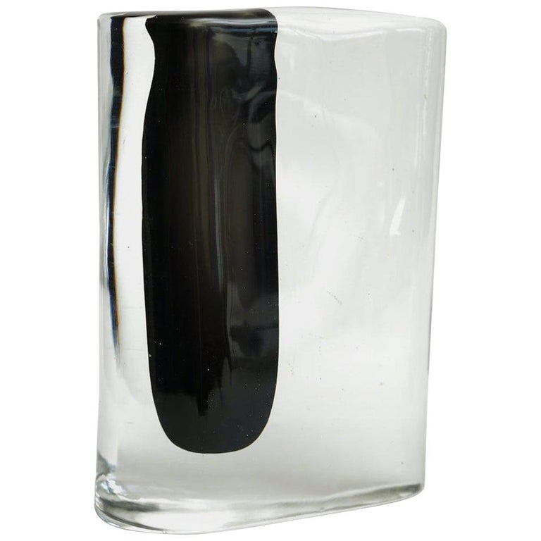 Cenedese Murano Black and Clear Glass Vase Vintage