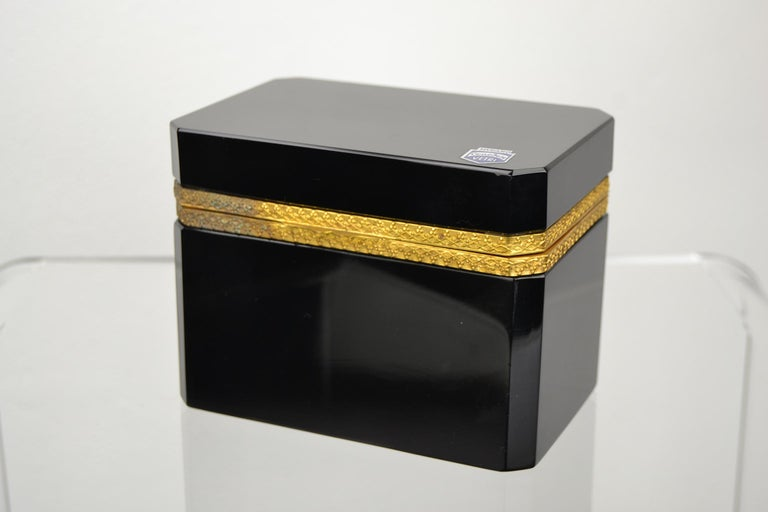 Mid-Century Modern Cenedese Murano Black Jewelry Box, 1950s For Sale