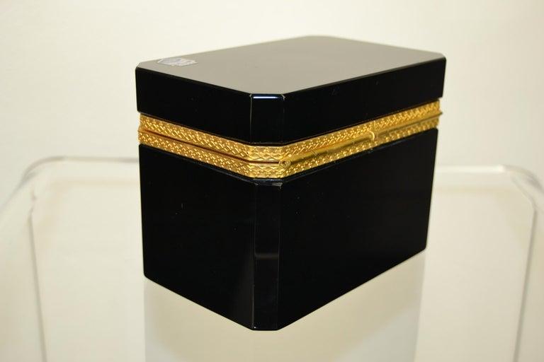 Gilt Cenedese Murano Black Jewelry Box, 1950s For Sale