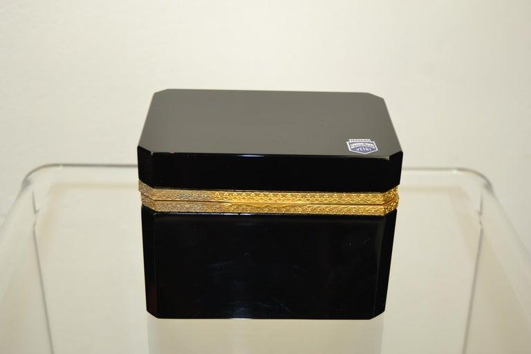20th Century Cenedese Murano Black Jewelry Box, 1950s For Sale