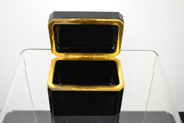 Metal Cenedese Murano Black Jewelry Box, 1950s For Sale